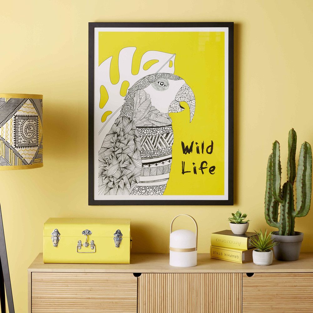 Yellow and black parrot print frame GRAPHIC WILD | Maisons du Monde ...