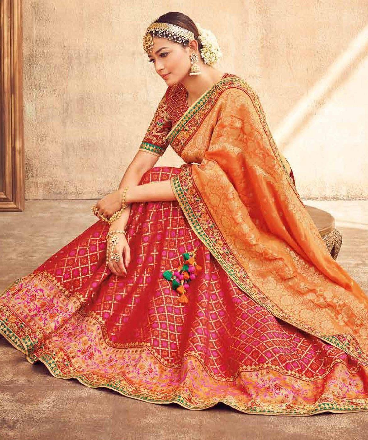 Buy Red and Orange silk Indian wedding lehenga in UK, USA