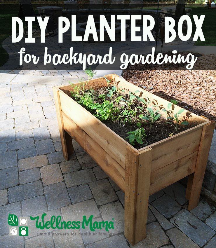 Diy Planter Box Tutorial For Patio Or Balcony Wellness Mama Backyard Garden Diy Garden Boxes Diy Diy Planters