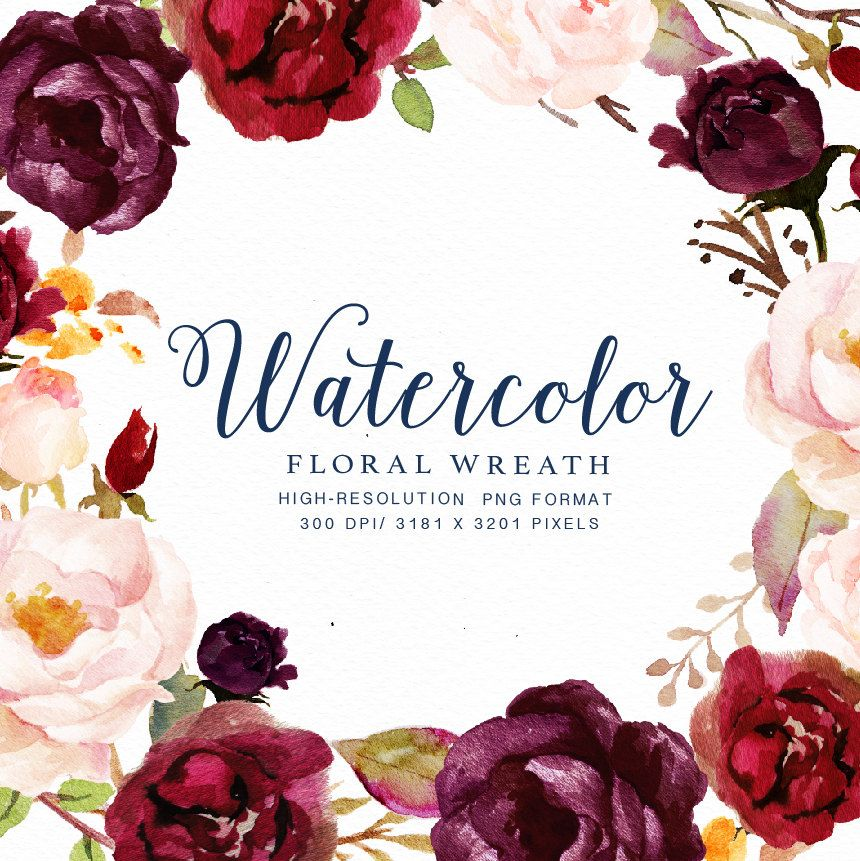 Watercolor Floral Wreath-Marsala/Individual PNG Files/Hand