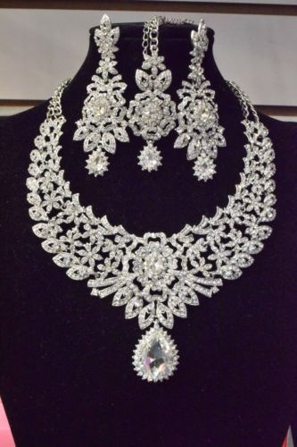 9043e35014ed2 New Indian Bollywood Costume Jewellery Necklace Earring Set Silver ...