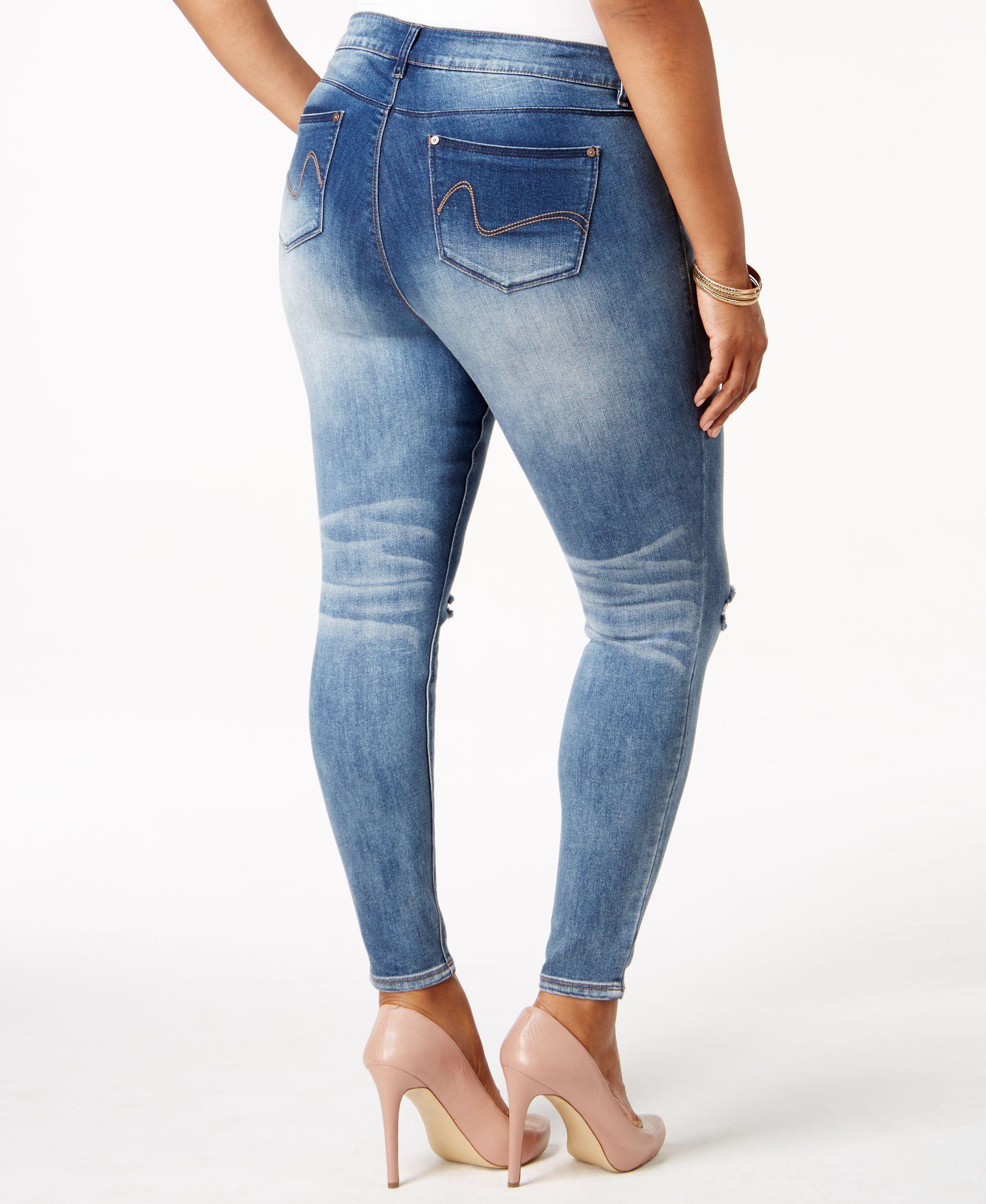 6a1006c64e8 Rocks   Indigo Plus Size Ripped Faded Skinny Jeans