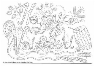 Happy Vaisakhi Colouring Page