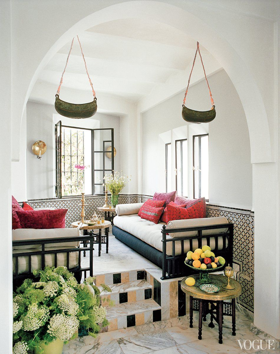 Daybeds in a Moroccan living room full of pattern on Thou Swell ...