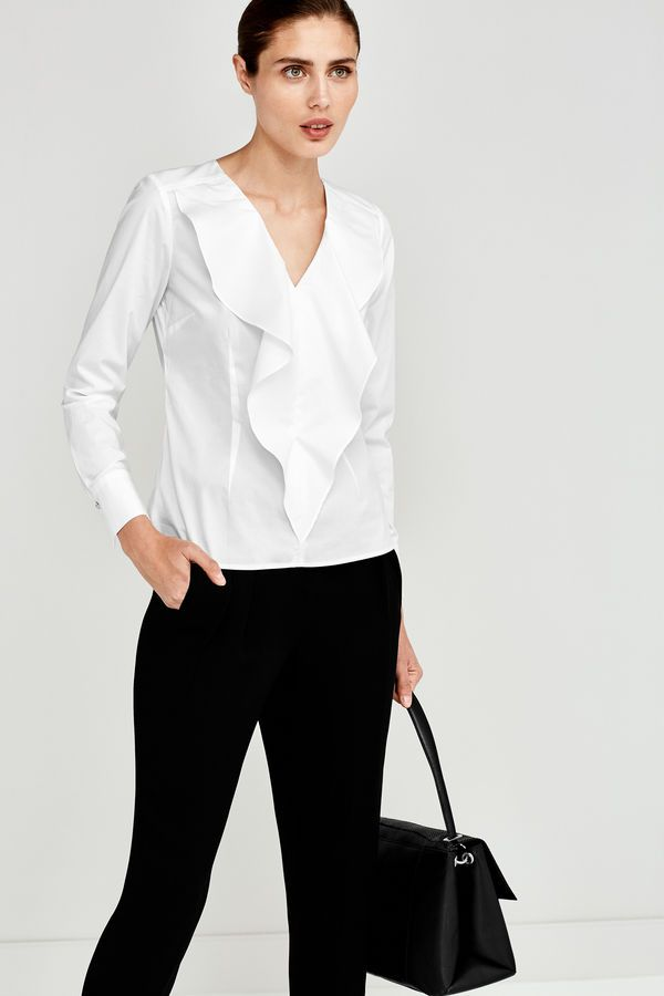 Pedro Del Hierro Poplin Shirt With Ruffles White Ropa Online Mujer Camisas Blusas Blancas