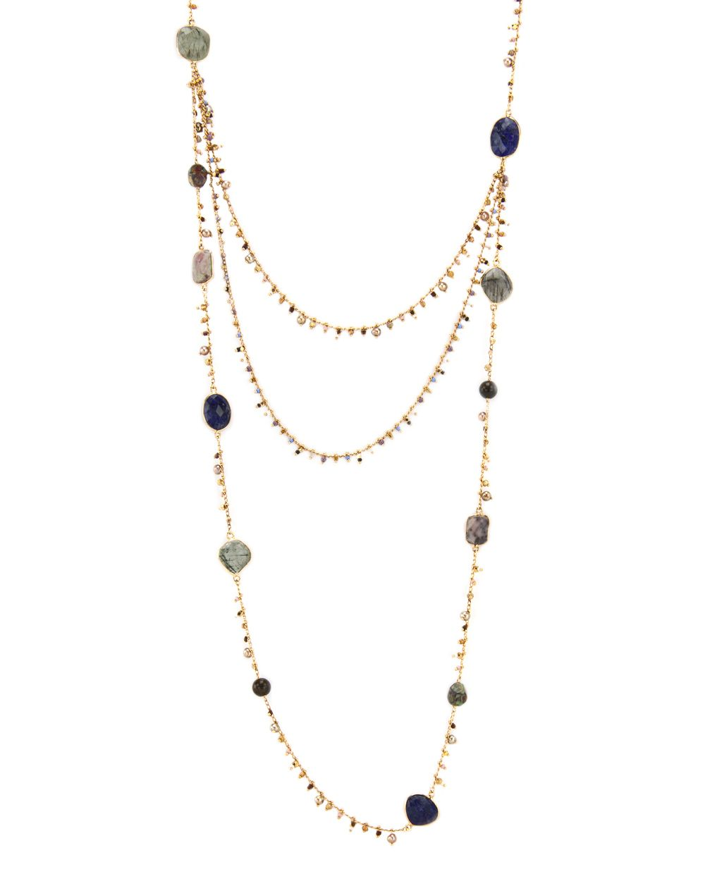 Serti Pondicherie long necklace - Metallic Gas Bijoux 520LaF