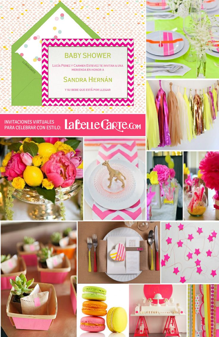 Baby shower neon invitaciones ideas decoracion juegos for Decoracion casa shower
