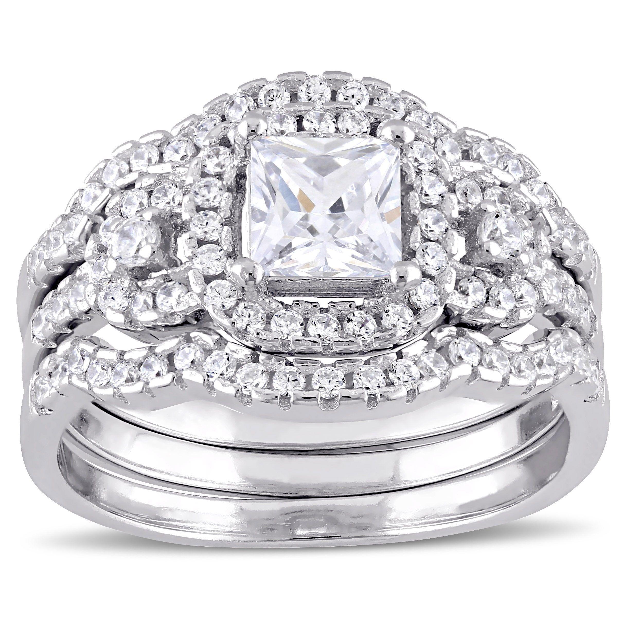 Miadora Sterling Silver Cubic Zirconia 3stone Halo Bridal