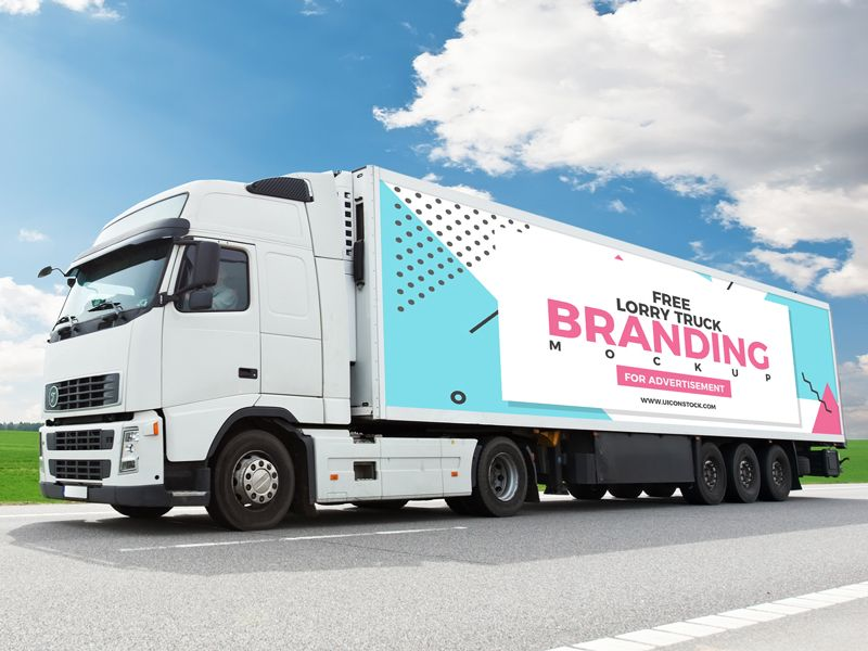 Free Truck Branding Mockup For Advertisement With Images