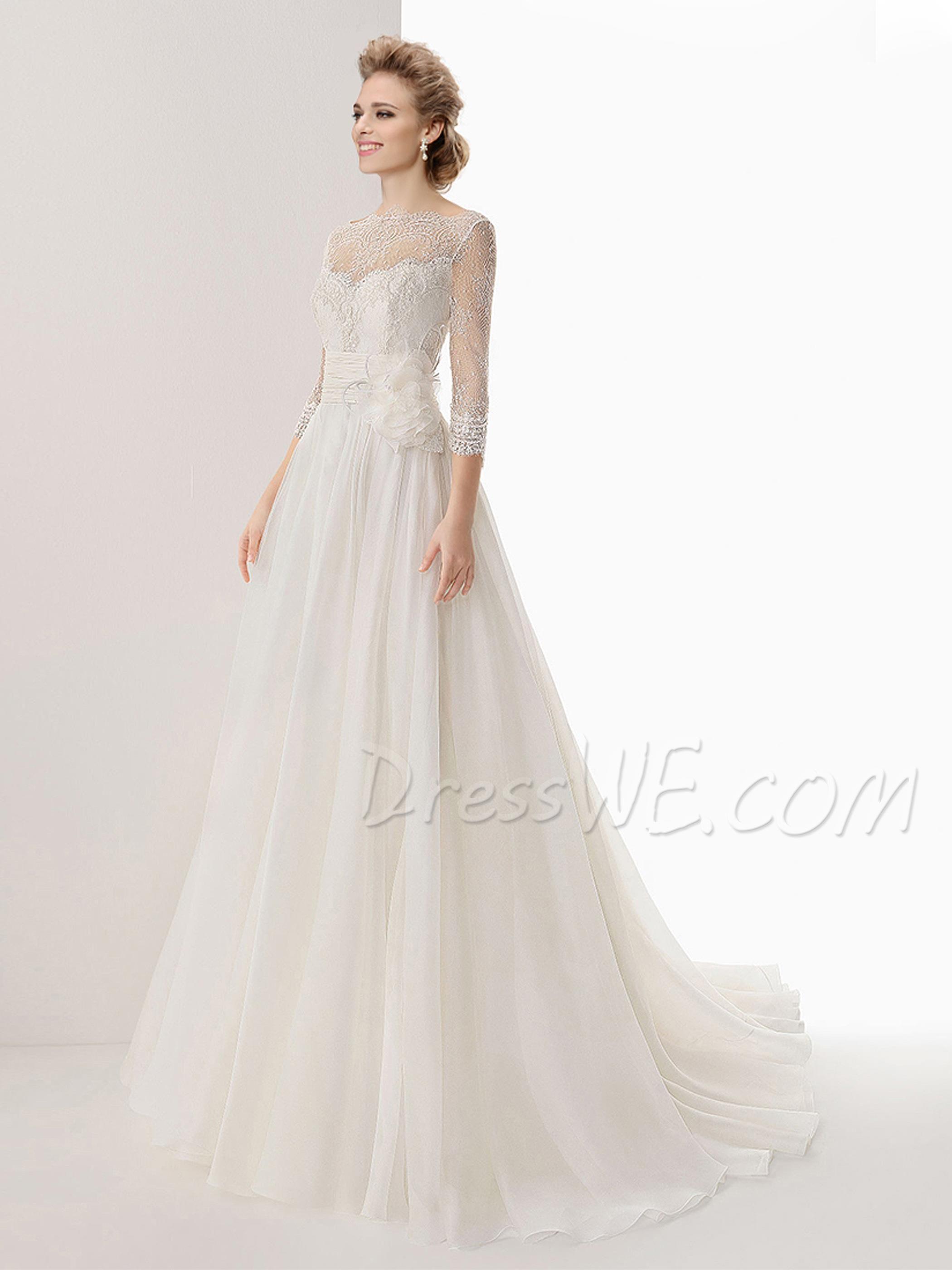 $183.39 Dresswe.comサプライ品ファッショナブルなAラインバトーハーフスリーブのレースウェディングドレス