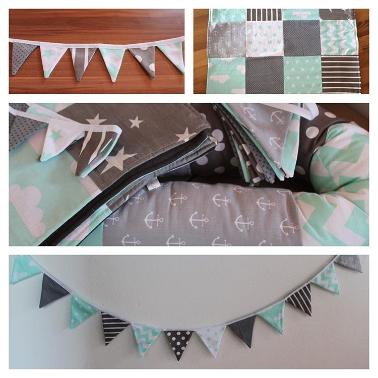 Set mint / grau #bettschlange#wimpelkette#kette#maxicosidecke#baby#kinderzimmer#mint#grau#handmade#vilu_design#nähen#babydecke#nähenfürbabys#nähenfürkinder