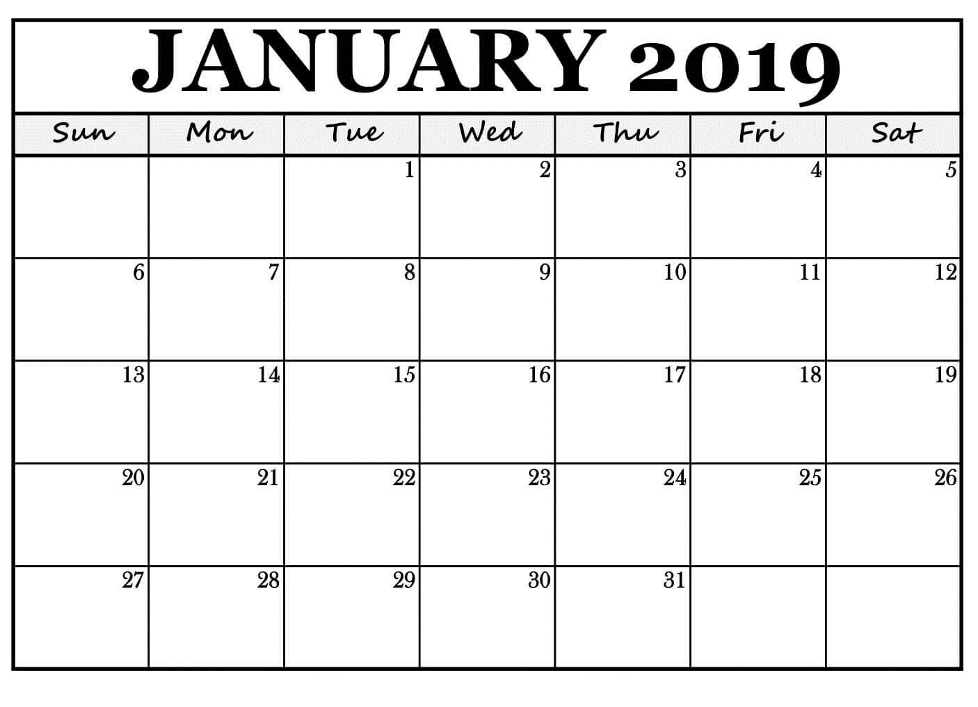 Blank January 2019 Customize Calendar Word Template Printable