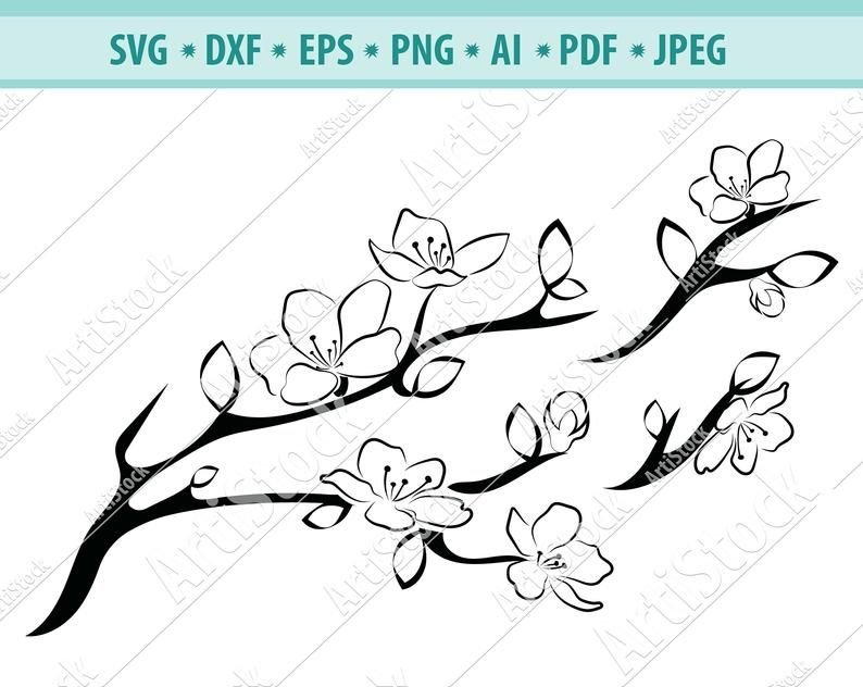 Tree Branch With Flowers Cherry Blossoms Svg Sakura Cricut Etsy In 2021 Cherry Blossom Vinyl Decal Diy Branch Drawing