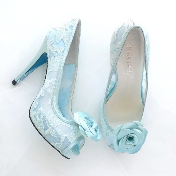 Something Blue Mint Floral Lace Peep Toe Bridal Wedding Shoes Pumps ...
