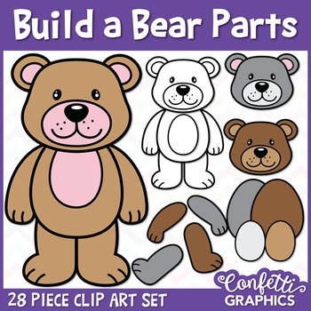 Build A Bear Parts Clip Art Set Clip Art Bear Coloring Pages