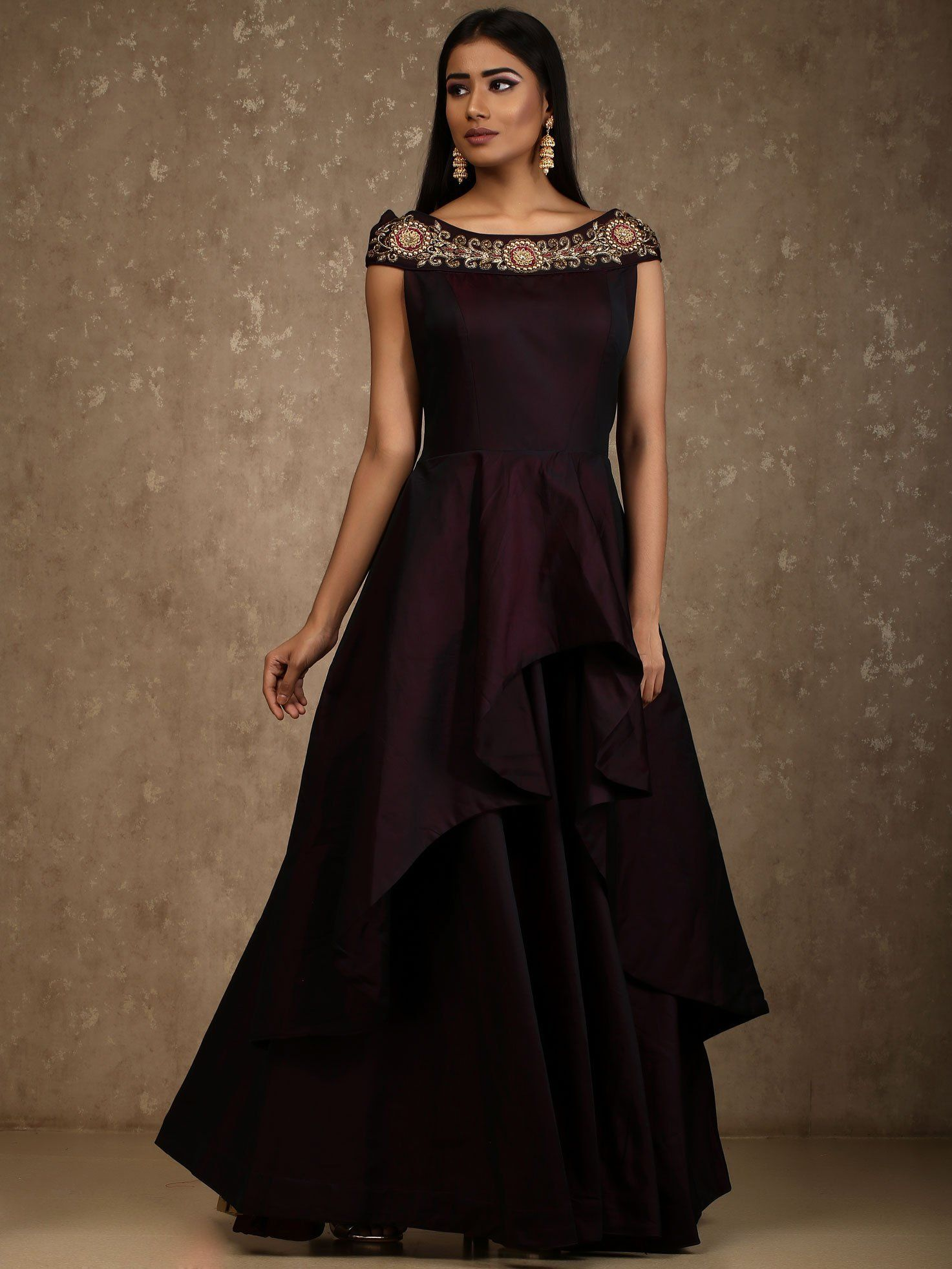 Buy Magenta Color Satin Taffeta Stitched Gown Zinnga With