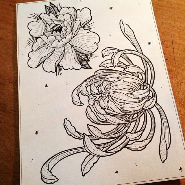 Lisa Yekita On Instagram Drawing Illustration Sketch Tattoo Tattooart Tattooflash Engraving In Japanese Flower Tattoo Japanese Tattoo Flower Drawing