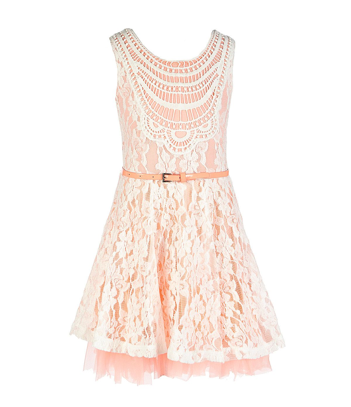 Copper key lace crochetneck skater dress dillards vow