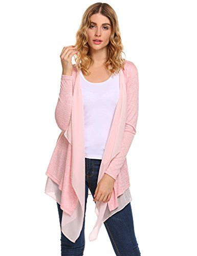 dd76b5550a3 Beyove Women s Casual Lightweight Open Front Long Sleeve Soft Knit Sheer  Cardigan
