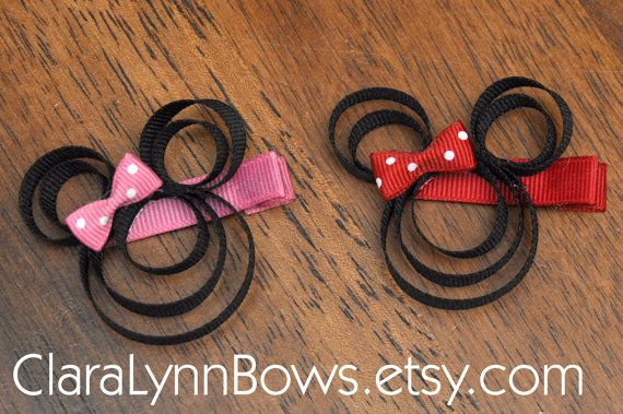 Minnie Mouse Inspired Ribbon Sculpture Hair Clip (Red or Pink)