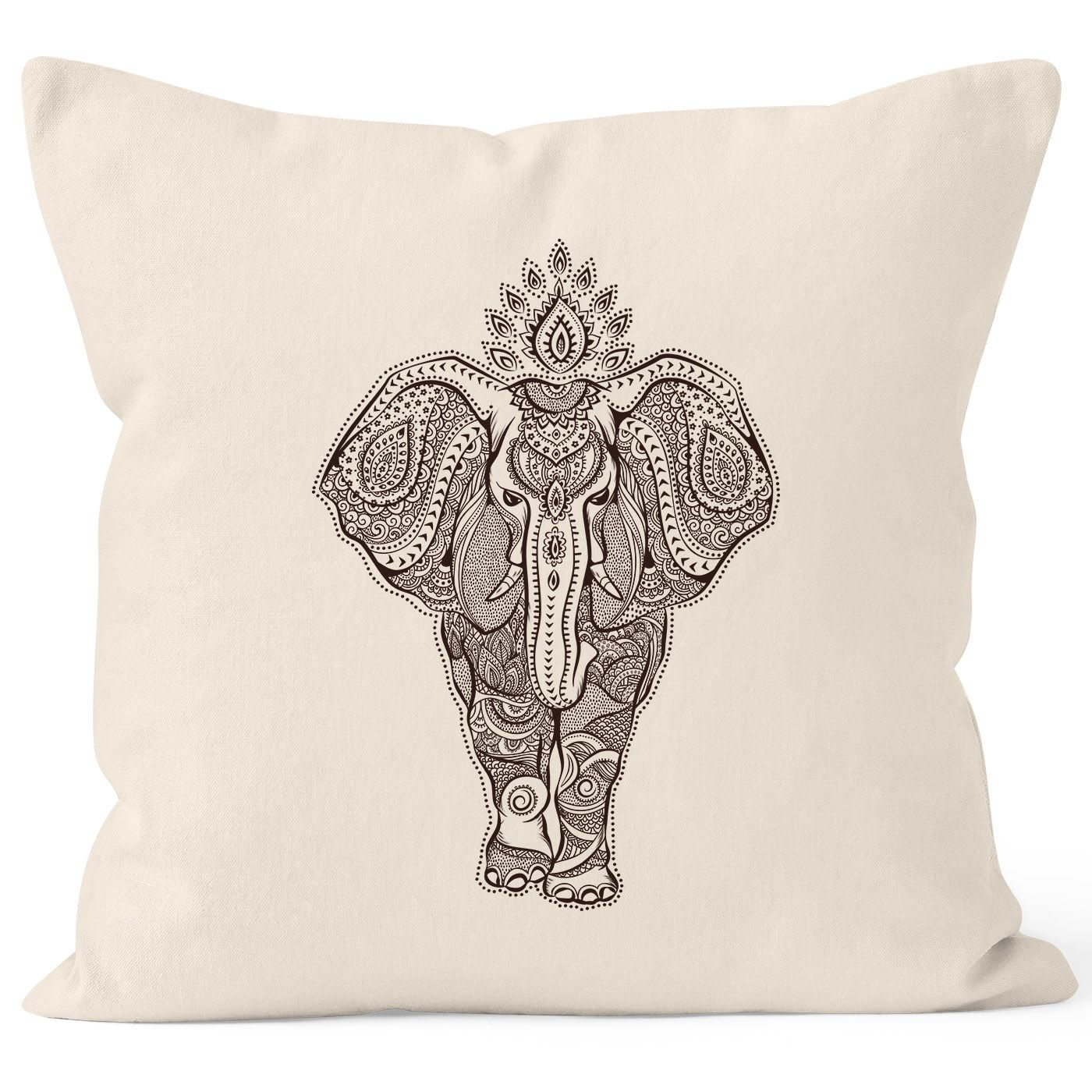 kissenbezug zentangle elefant mandala boho bohemian ethno kissenh lle dekokissen 40x40 baumwolle. Black Bedroom Furniture Sets. Home Design Ideas