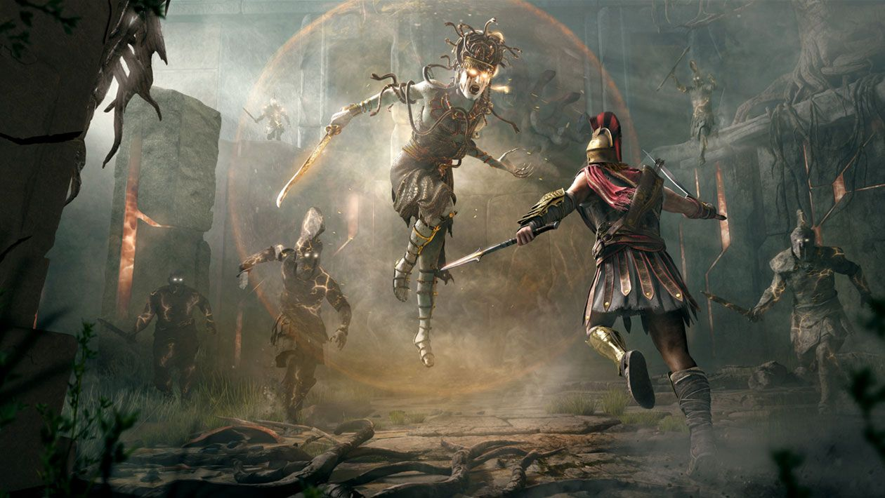 Medusa Vs Alexios From Assassin S Creed Odyssey Art Illustration Artwork Gaming Videog Assassin S Creed Wallpaper Assassins Creed Assassins Creed Odyssey