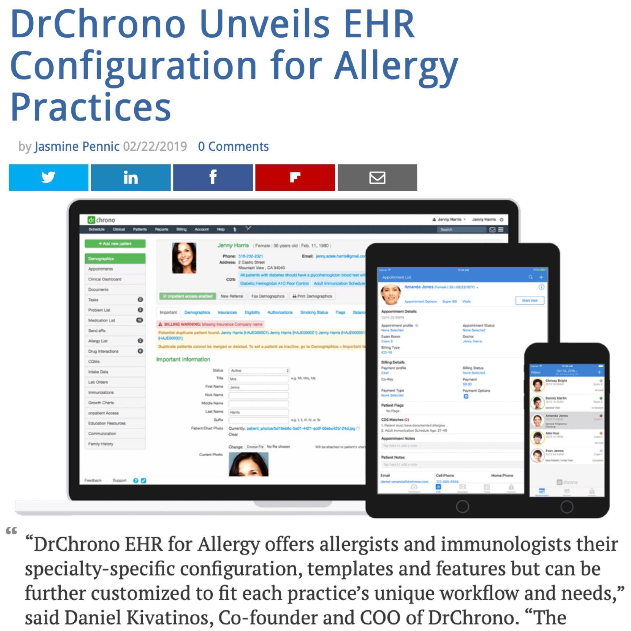 DrChrono Unveils EHR Configuration for Allergy Practices