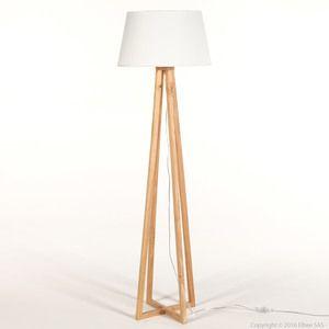 Lampadaire pied croix en bois avec abat jour en tissu hauteur 150cm ...