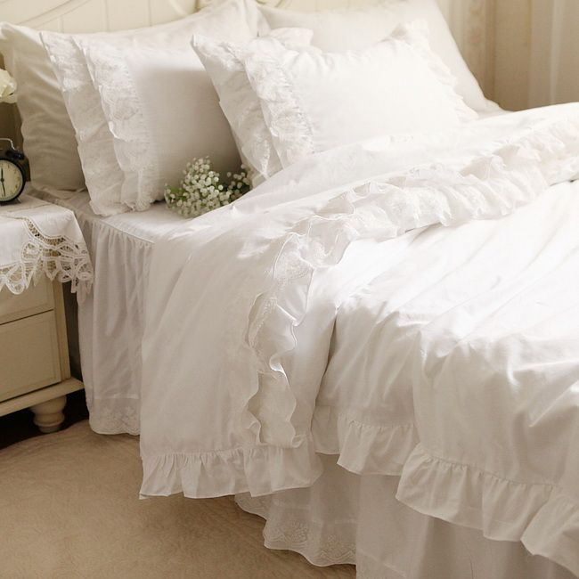 Fadfay Elegant White Lace Ruffle Bedding Set Luxury White Ruffle
