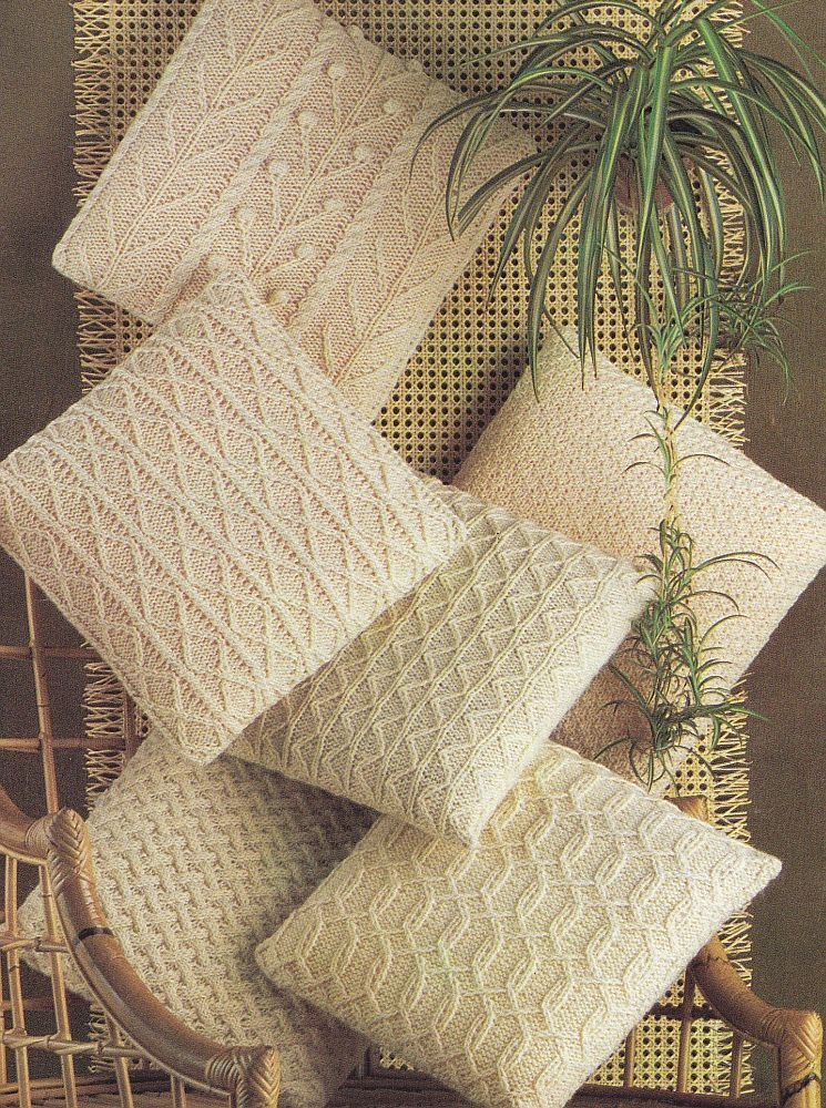 Pillow Knitting Patterns, PDF Instant Download - Six Different Cable ...