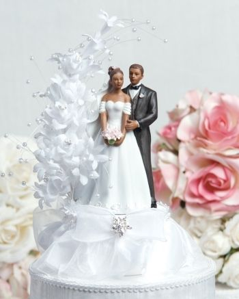 This Beautiful Cake Topper Features A White Flower Arch Accented With Faux Pearls Flowing Over An Elegant Fine Porcelain African American Wedding Couple