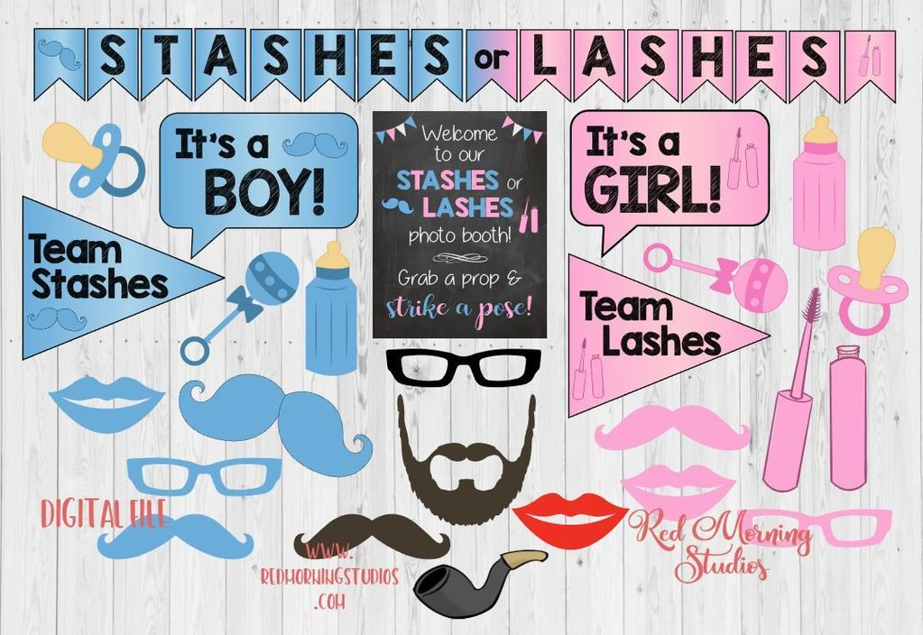 Gender Reveal Stashes Or Lashes Selfie Frame Photo Booth Prop Poster