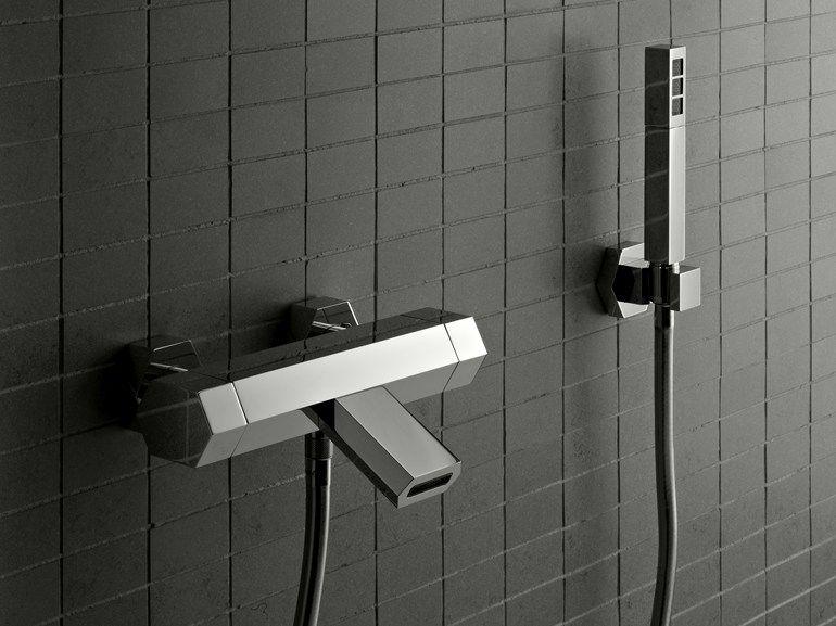 Signorini DIAMOND 90197000 Set vasca a muro con doccetta metallo finiture nero bianco cromo lucido