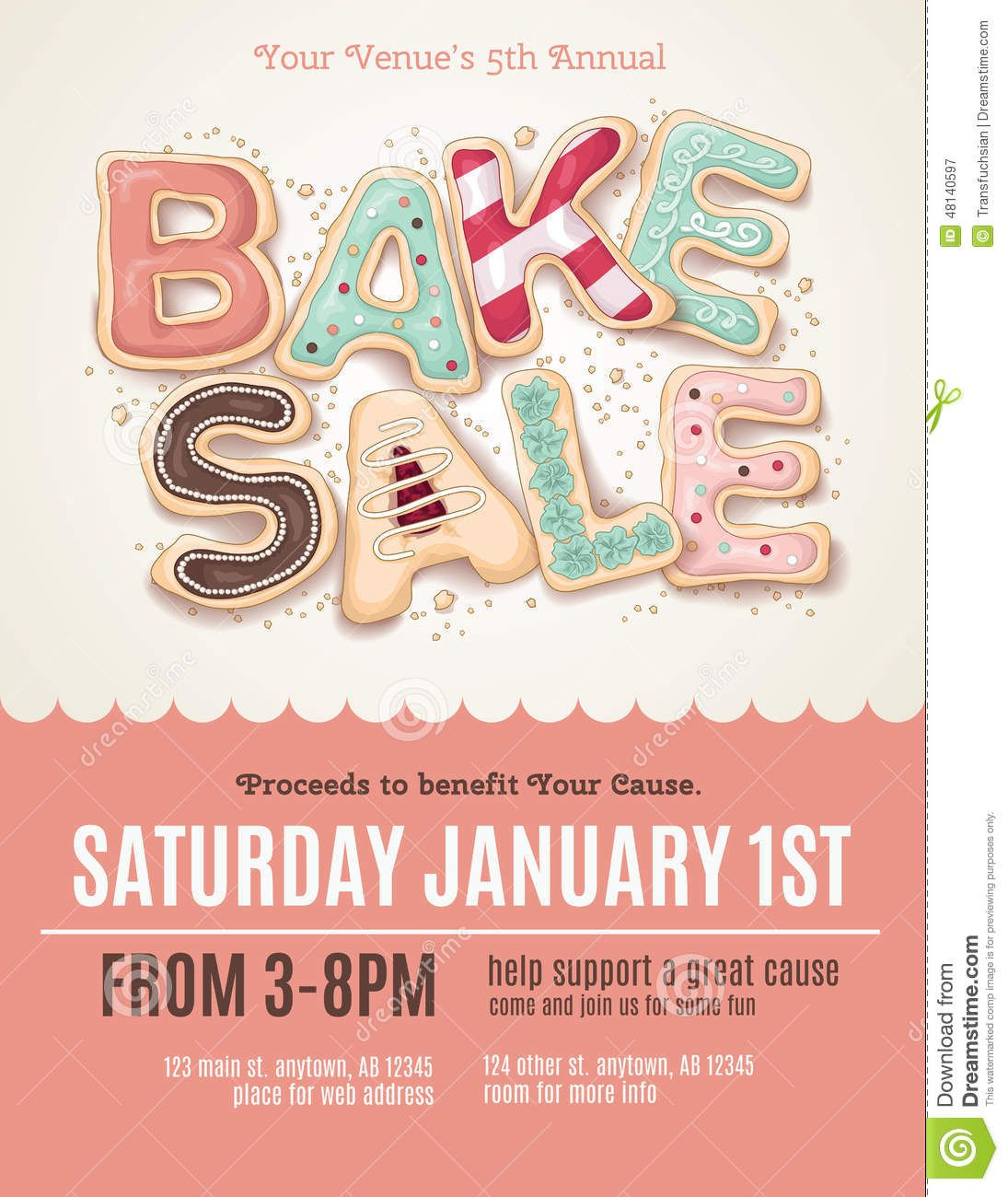 Fun Cookie Bake Sale Flyer Template  Download From Over