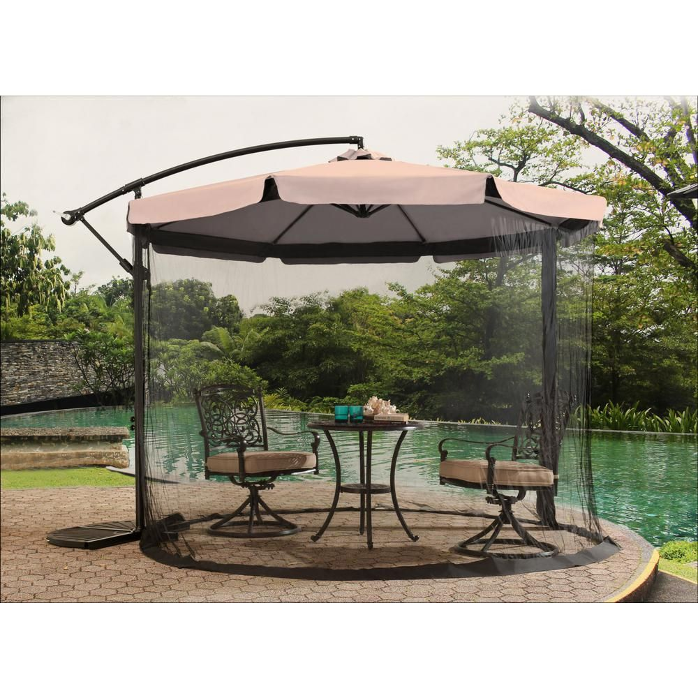 Sunjoy Offset Netted 9 8 Ft Steel Cantilever Patio Umbrella In Khaki 110211001 K The Home Depot Cantilever Patio Umbrella Patio Umbrella Patio Umbrellas