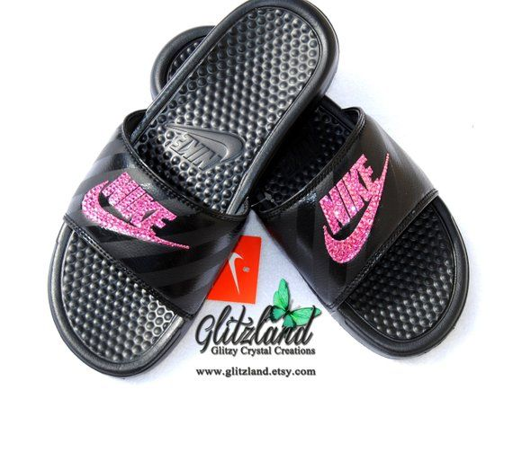 67ab77c10 Swarovski Nike Black JDI Benassi Slides   Flip Flops Women Blinged with  Pink or Rose Gold SWAROVSKI® Crystals