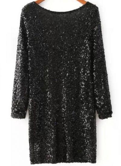 Black Long Sleeve Sequined Backless Dress