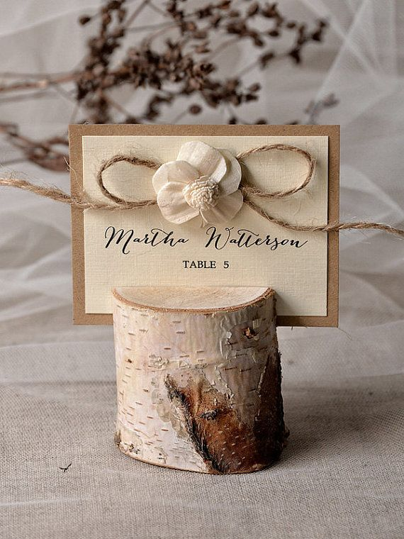 Rustic Place Card Holder With Birch Wedding