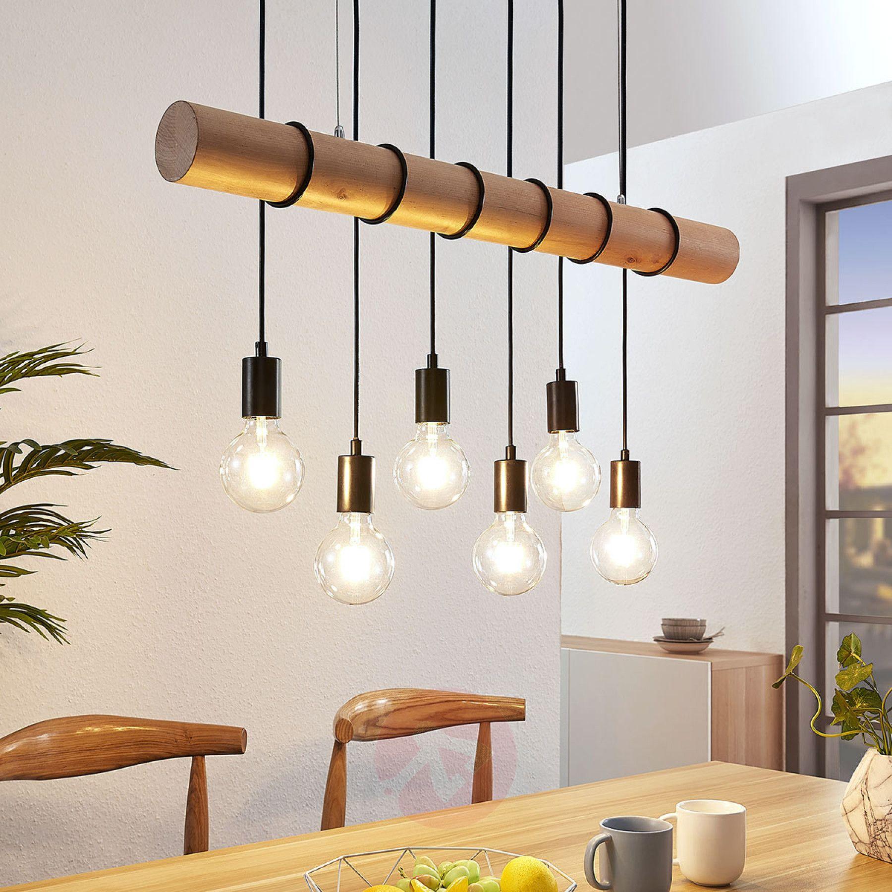 Drewniana lampa wisząca Eviton, 6 pkt. naturalna   Wooden