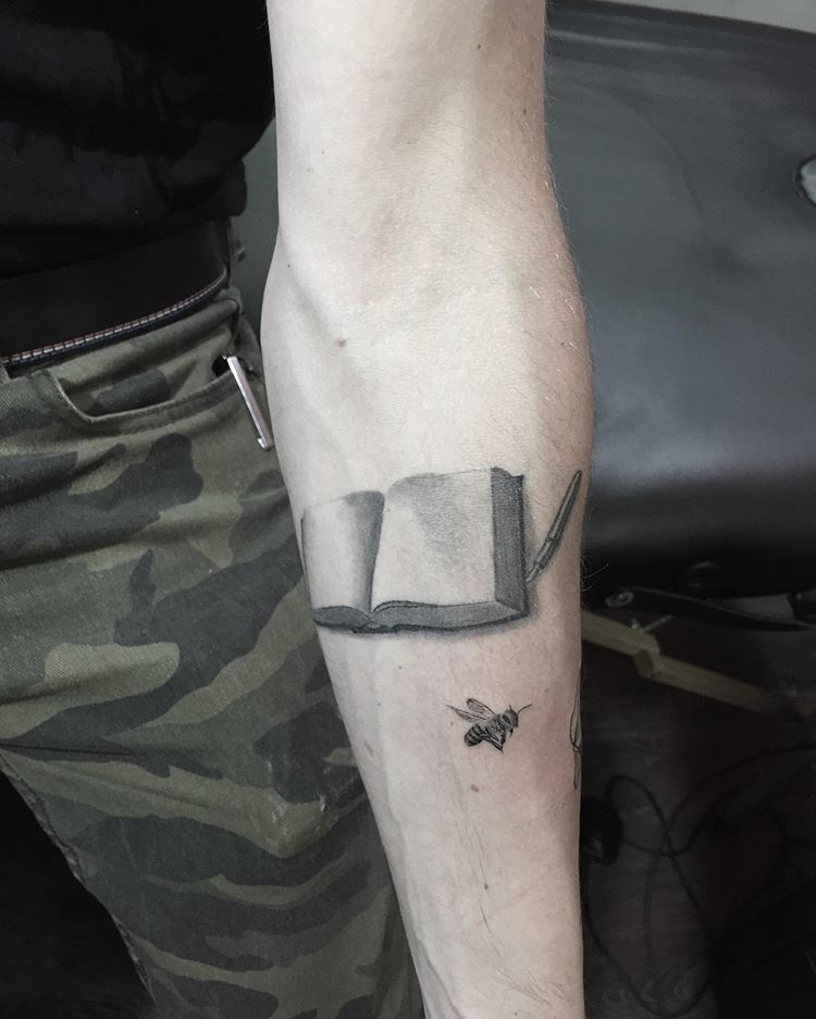 The Book And Pen Are 2ish Months Healed And The Bee Is Fresh All Single Needle Tattoo Tattoos Ink Tattooartis Tattoos Minimal Tattoo Single Needle Tattoo