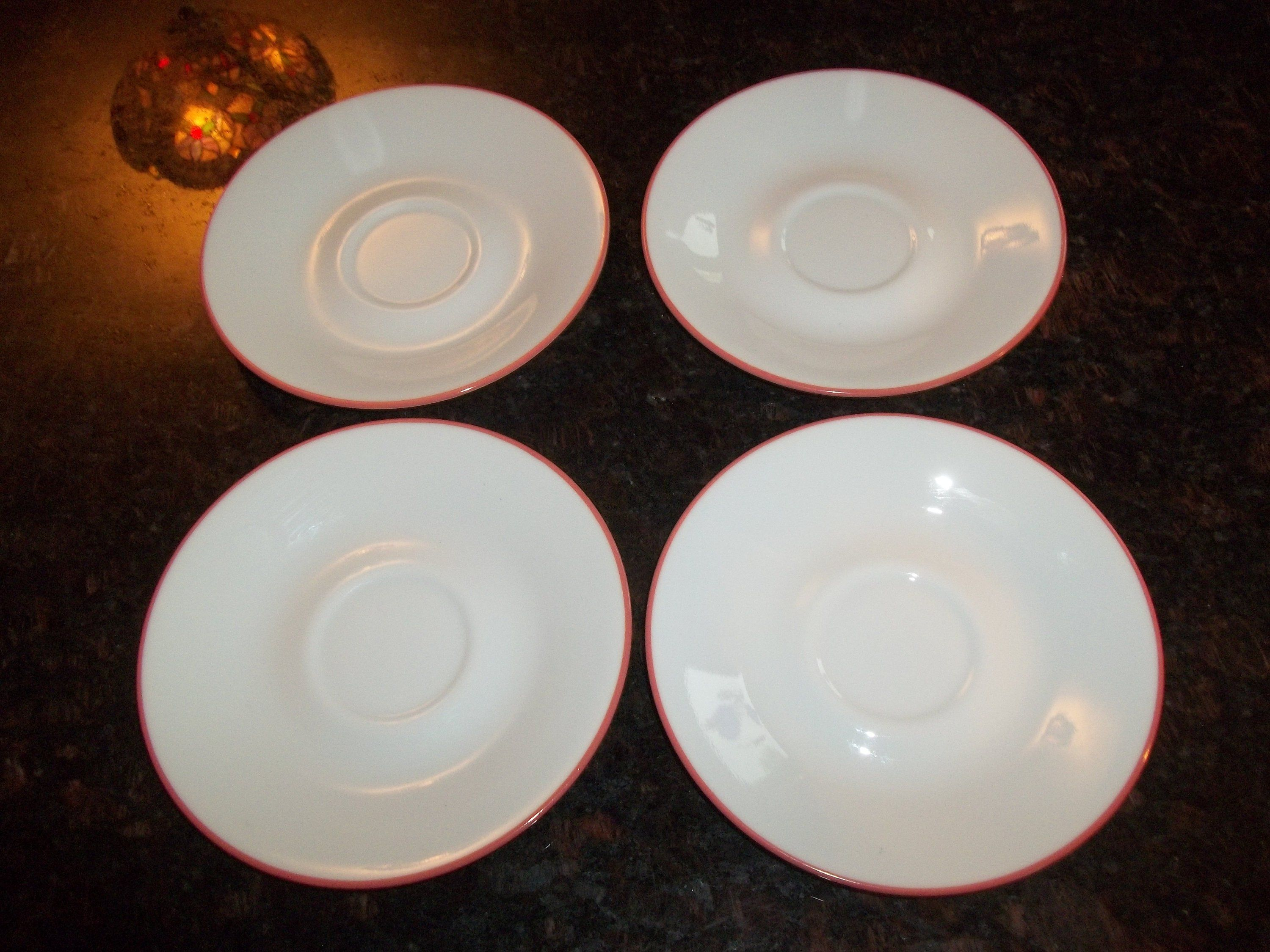 4 Corelle Coral / Pink Rimmed Saucers, Made in the USA #pinkrims