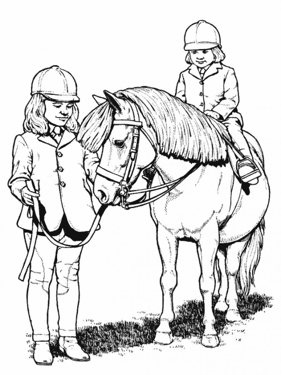 Little Girl Riding Horse Animal Coloring Pages | Color: Horses ...
