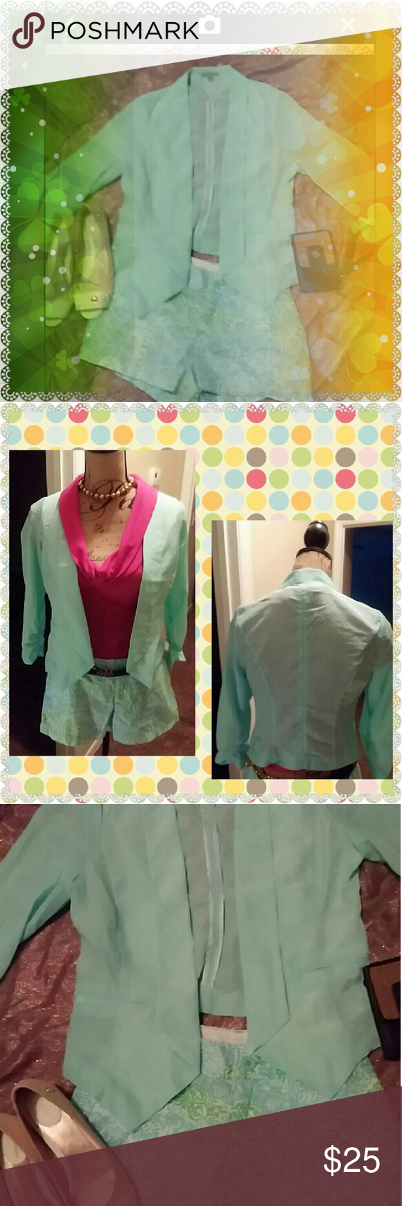 Charlotte Russe tuxedo front  sheer jacket Gathers at bottom if sleeve with elastic Charlotte Russe Jackets & Coats Blazers