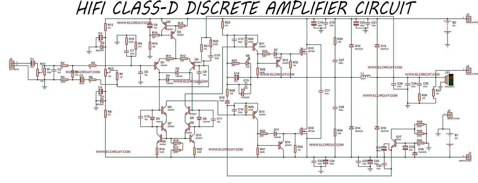 hight resolution of hifi class d discrete power amplifier electronic circuit