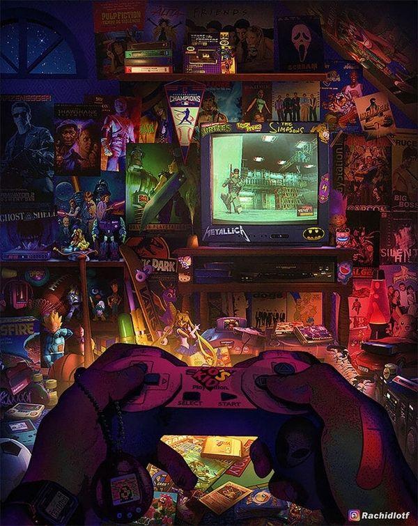 Eine Hommage an die Kinderzimmer der 90er von Rachid Lotf #gamerroom