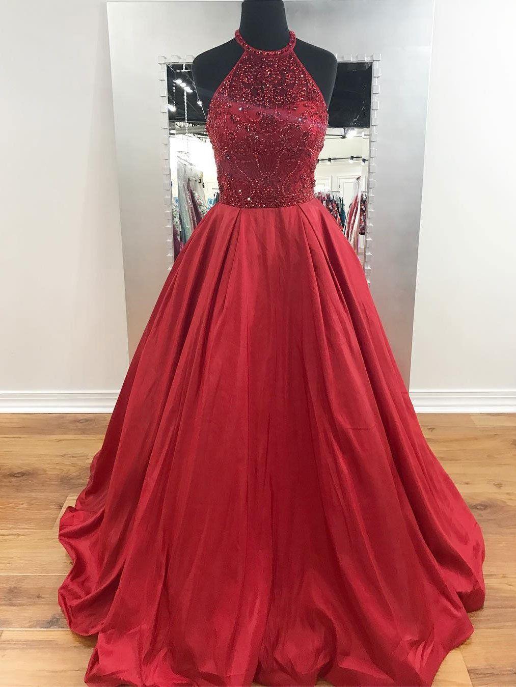 Charming aline halter beaded burgundy long prom dresseslong