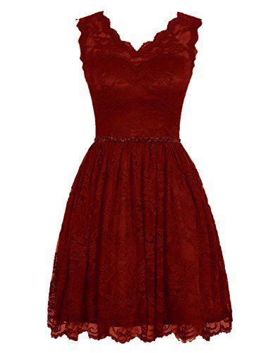 Diyouth Elegant Short V Neck Lace Flower Formal Bridesmaid Dress Burgundy Size 2 Diyouth http://www.amazon.com/dp/B00XY75ILW/ref=cm_sw_r_pi_dp_4NSKvb033YWN0