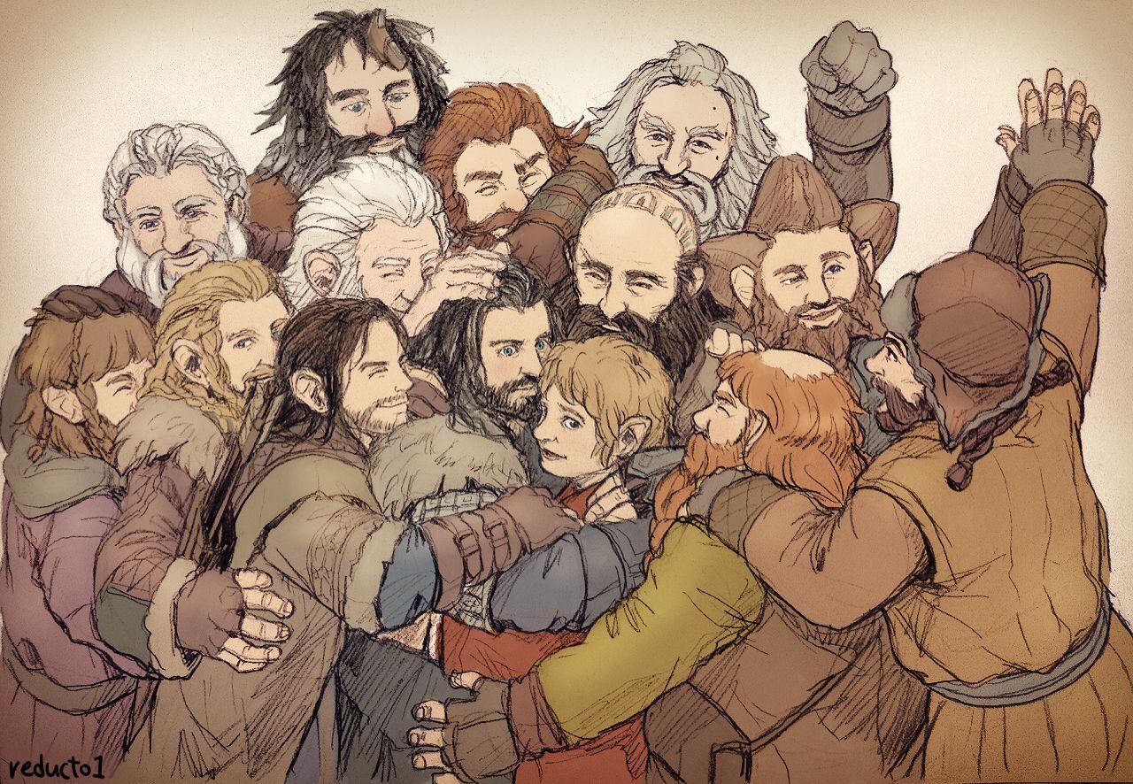 Dwarves Group Hug Attack Hobbit Fanart The Hobbit