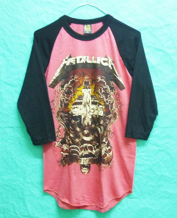 65e2daf9407fd5 Teen Girls Rock Women rocker Metallica Tshirf Rock Music heavy metal singer  Vintage 90s Baseball Shirt Raglan tee 3 4 Sleeves Size S M