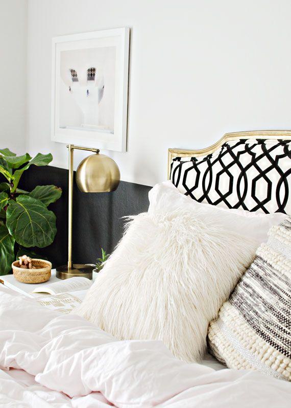 black, white & gold bedroom design, white furry pillow, target ...